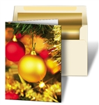 3D Lenticular Christmas card Printed with gold background,red and gold christmas ornaments, 3D depth effect