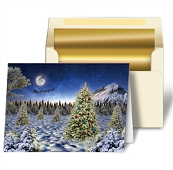 Personalized 3D Lenticular Christmas Cards Image with Pine Trees and Snow