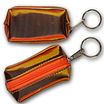 Lenticular purse key chain with brown, yellow, and orange, color changing with