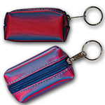 Lenticular purse key chain with red and blue gradient, color changing