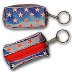 Lenticular purse key chain with USA flag, stars, color changing flip