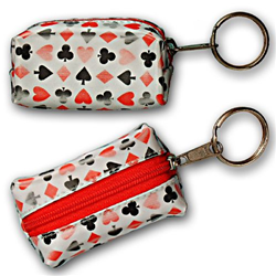 Lenticular purse key chain with playing cards with clubs, spades, diamonds, and hearts, color changing flip