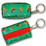 Lenticular purse key chain with yellow, red, and green butterflies, color changing flip