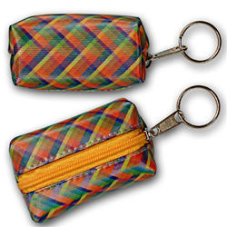 Lenticular purse key chain with vibrant colorful plaid pattern, color changing