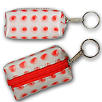Lenticular purse key chain with red circles spin around on a white background, animation