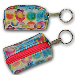 Lenticular purse key chain with cute flowers and circles, flip with