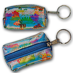 Lenticular purse key chain with cute spring flowers and butterflies, flip with