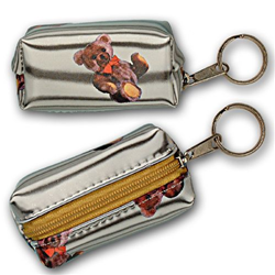 Lenticular purse key chain with cute teddy bears, fish, and stars, flip with