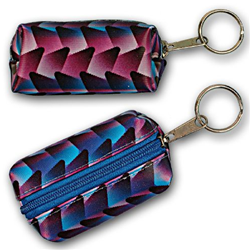 Lenticular purse key chain with black, blue, and purple interwoven pattern, color changing