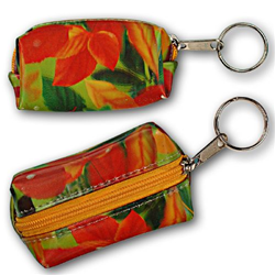 Lenticular purse key chain with large spring time red and orange flowers, depth