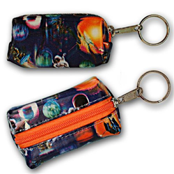 Lenticular purse key chain with universe space ships, planets, comets and asteroids, depth
