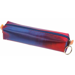 Lenticular pencil case with red and blue gradient, color changing