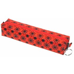 Lenticular Globo pencil case with black spinning wheels on red background, animation