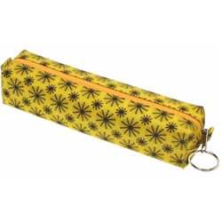 Lenticular pencil case globo with black spinning wheels on yellow background, animation