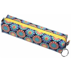 Lenticular pencil case with rainbow wheels spin around on a dark blue background