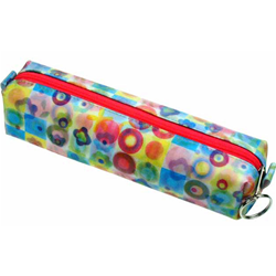 Lenticular pencil case with cute flowers and circles, flip with