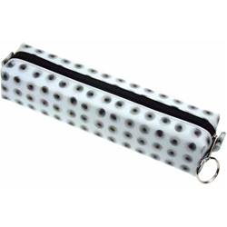 Lenticular pencil case with black circles spin around on a white background, animation