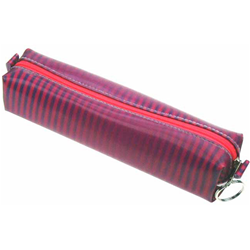 Lenticular pencil case with pink and purple zebra stripes, color changing depth