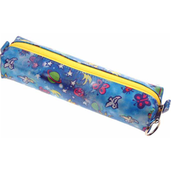 Lenticular pencil case with outer space stars, planets, ships, and galaxies, day and night, flip