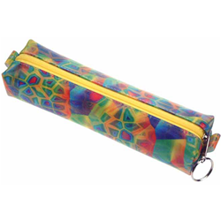 Lenticular pencil case with rainbow  colored square and geometric shapes, color changing