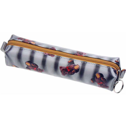 Lenticular pencil case with teddy bears on a black and white striped background, depth