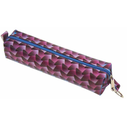 Lenticular pencil case with black, blue, and purple woven pattern