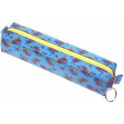 Lenticular pencil case with sea stars, fish, and sea shells on a light blue background, depth