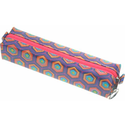 Lenticular pencil case with kaleidoscope colored hexagons on a purple background, color changing