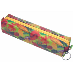Lenticular pencil case with large spring time red and orange flowers, depth
