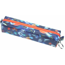 Lenticular pencil case with universe space ships, planets, comets and asteroids, depth