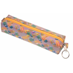 Lenticular pencil case with multicolored pencils on a pink and purple background, depth