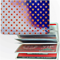 Lenticular credit card ID holder with USA flag, stars, color changing flip
