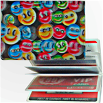 Lenticular credit card ID holder with small rainbow multicolored happy faces, depth