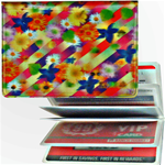 Lenticular credit card ID holder with multicolored flowers on a rainbow background, depth