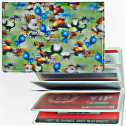 Lenticular credit card ID holder with dogs barking and cats meowing, green background, depth