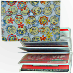 Lenticular credit card ID holder with flowers and happy faces, flip
