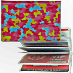 Lenticular credit card ID holder with pink, blue, and yellow camouflage print, depth