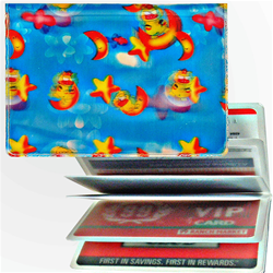 Lenticular credit card ID holder with stars, moons, dogs, clouds, and sky, depth
