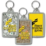 Lenticular acrylic key chain with USA American money, dollars and coins, flip