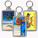 Lenticular acrylic key chain with custom design, man holding coconut on Hawaiian tropical beach, flip