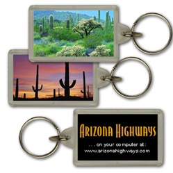 Lenticular acrylic key chain with custom design, dry Arizona or New Mexico desert with cactus, flip