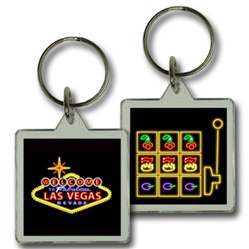 Lenticular keychain with custom design, Las Vegas neon sign and slot machine