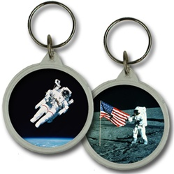 Lenticular acrylic key chain with circle shaped, custom design, NASA astronaut on Moon and floating in Earth orbit, flip