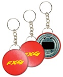 Lenticular key chain bottle opener with red and white gradient, color changing