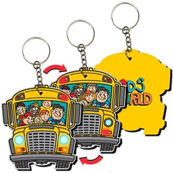 Lenticular foam key chain with school bus shaped, yellow with flashing hazard lights and bouncing kids, flip