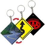 Lenticular foam key chain with diamond road sign shaped, winding road and caution sign, flip