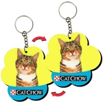 Lenticular foam key chain with flower shaped, Garfield colored kitty cat tilts its head, flip