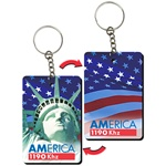 Lenticular foam key chain with rectangle shaped, Statue of Liberty and American flag, flip