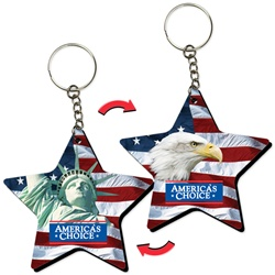 Lenticular foam key chain with star shaped, Statue of Liberty, bald eagle, and American flag, flip