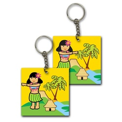 Lenticular foam key chain with custom design, hula girl dances on a beach with palm trees, flip